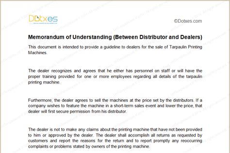 MOU Template (Between Distributor and Dealers) - Dotxes