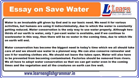 Essay on Save Water in English for Class 1 to 12 Students