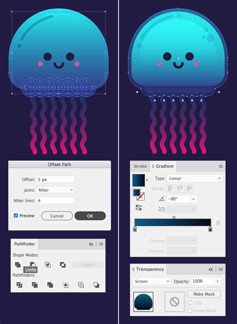 10 Steps to Draw a Cute Glowing Jellyfish in Adobe