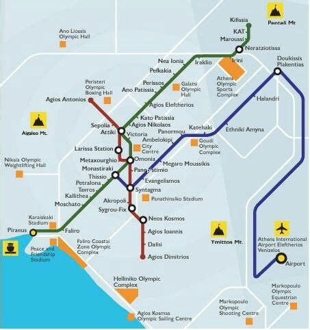 Athens metro map subway ,all lines crossing thru centre
