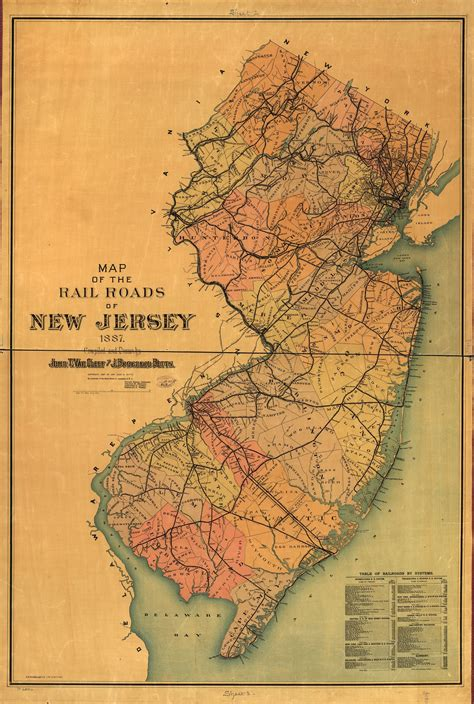 Railroad Maps, 1828 to 1900, New Jersey, Geography and Map