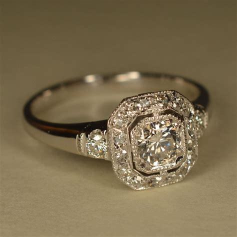 RESERVED: Art Deco Inspired Wedding Ring (Platinum and 14k