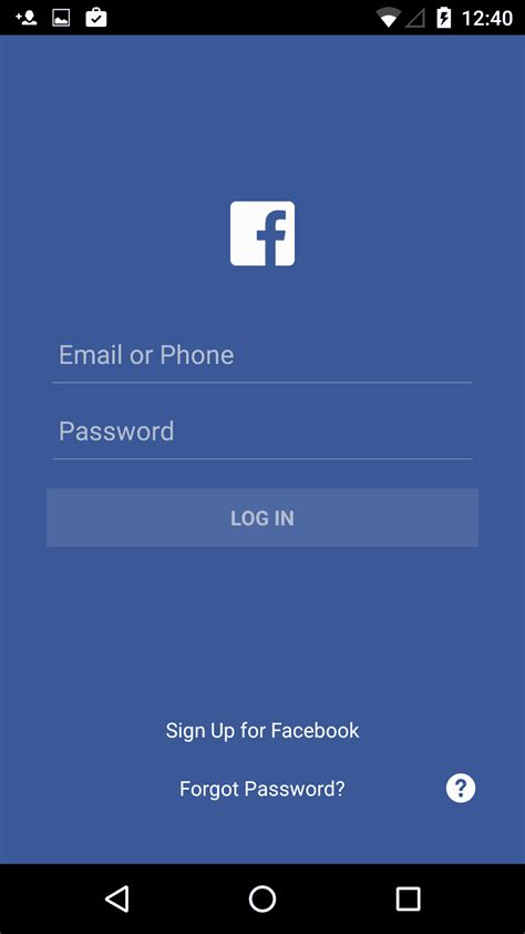 Inspiration Login Screen on Android by Facebook - UI Garage