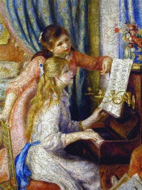 Two Young Girls at the Piano - Wooden Jigsaw Puzzle