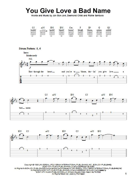 You Give Love A Bad Name by Bon Jovi - Easy Guitar Tab