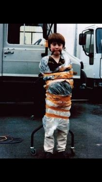 Daniel Radcliffe tied up on the set of David Copperfield