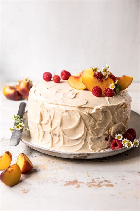 Peach Ricotta Layer Cake with Browned Butter Buttercream