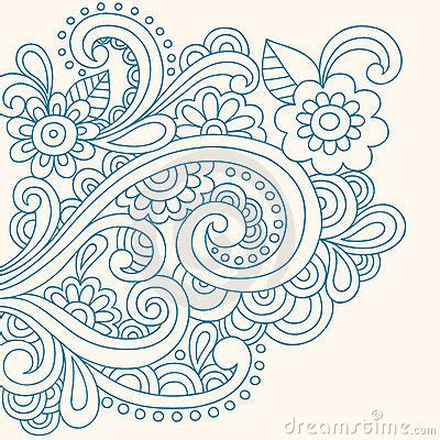 Doodle Henna Abstract Flowers And Swirls Vector Stock