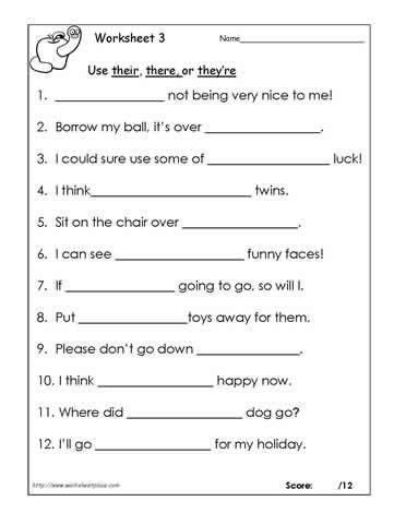 Their, there or theyre? Worksheets | English grammar